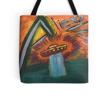 Alien space ship lost in space coming out of water and into oblivion Tote Bag