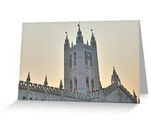 Clock Tower of St. Paul's Cathedral, Calcutta during dusk Greeting Card