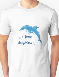 Hand drawn cute jumping dolphin with splash T-Shirt