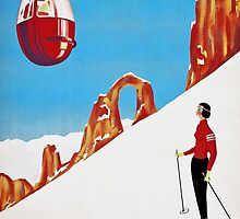 She Skis Alone, Vintage ski sport poster art by Glimmersmith