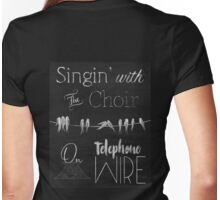 Singing Birds on a Wire chalkboard art Womens Fitted T-Shirt