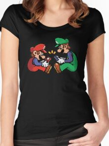 mario and luigi pixel Women's Fitted Scoop T-Shirt