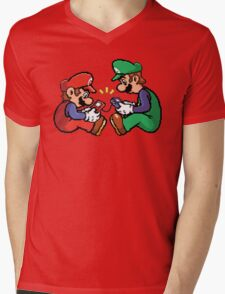 mario and luigi pixel Mens V-Neck T-Shirt