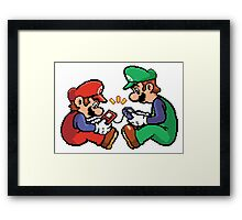 mario and luigi pixel Framed Print