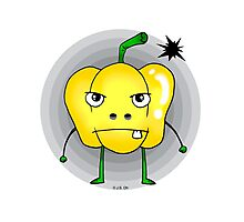 Angry yellow pepper cartoon Photographic Print