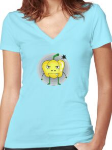 Angry yellow pepper cartoon Women's Fitted V-Neck T-Shirt
