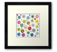 Colored flowers pattern isolated on white Framed Print