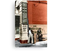 1939 Memphis, Two African American men in street in front of sign for pawn shop and Atlas Hotel. Canvas Print