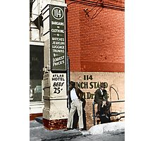 1939 Memphis, Two African American men in street in front of sign for pawn shop and Atlas Hotel. Photographic Print