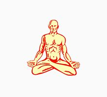 Man Lotus Position Asana Woodcut Unisex T-Shirt