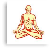 Man Lotus Position Asana Woodcut Canvas Print