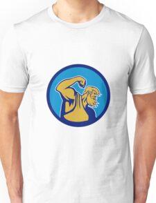 Neptune Poseidon Flexing Muscle Circle Retro Unisex T-Shirt