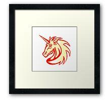 Unicorn Horse Head Side Woodcut Framed Print