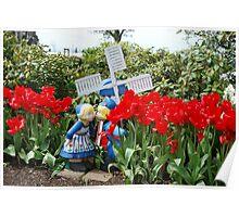 Figurines in the tulip garden Poster