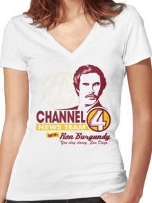 Channel 4 News Team with Ron Burgundy! Women's Fitted V-Neck T-Shirt