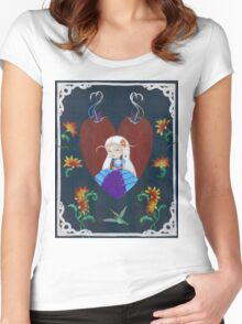 Painting Flowers Women's Fitted Scoop T-Shirt