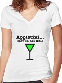 Appletini... Easy on the tini! Women's Fitted V-Neck T-Shirt