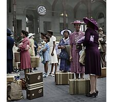 1942 Aug New York. Waiting for the trains at the Pennsylvania railroad station. Photographic Print