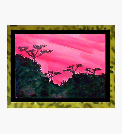 Africa Series (WITH FRAME),, hills with trees in beautiful pink,red sunset, watercolor Photographic Print