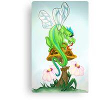 Fairy Dragon Sitting on Toadstool Canvas Print