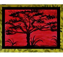 Africa Series (WITH FRAME), Tall tree, watercolor Photographic Print