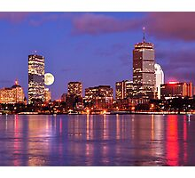 Moonlit Boston on the Charles Photographic Print