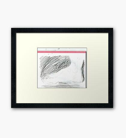 copy sculpture foot -(230511)- pencil/A4 drawing pad Framed Print