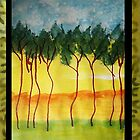 Africa Series (WITH FRAME0,  line of wild trees, watercolor by Anna  Lewis