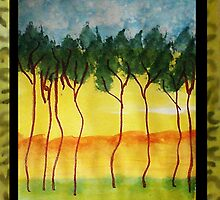 Africa Series (WITH FRAME0,  line of wild trees, watercolor by Anna  Lewis, blind artist