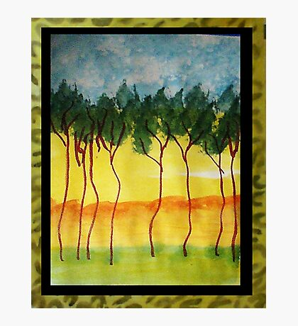 Africa Series (WITH FRAME0,  line of wild trees, watercolor Photographic Print
