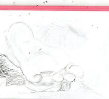 copy sculpture foot 4 -(230511)- pencil/A4 drawing pad by paulramnora