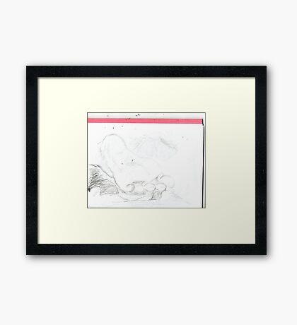 copy sculpture foot 4 -(230511)- pencil/A4 drawing pad Framed Print