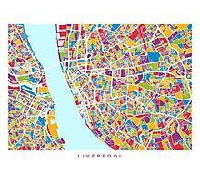 Liverpool England Street Map Photographic Print