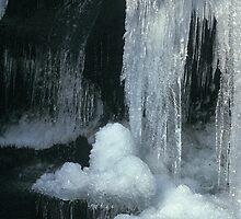 Frozen waterfall in Clydach Gorge by Jane Corey
