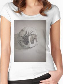 Cute Guinea Pig Ink Painting Women's Fitted Scoop T-Shirt
