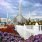 Boise Temple From the Garden 20x30 by Ken Fortie
