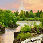 Idaho Falls Temple Morning Waterfall 20x30 by Ken Fortie