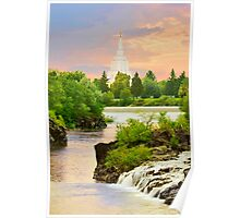 Idaho Falls Temple Morning Waterfall 20x30 Poster