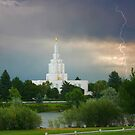 Idaho Falls Temple Summer Storm 20x24 by Ken Fortie
