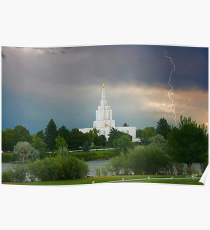 Idaho Falls Temple Summer Storm 20x30 Poster