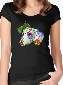 Day of the Dead Dachshund Sugar Skull Dog Women's Fitted Scoop T-Shirt