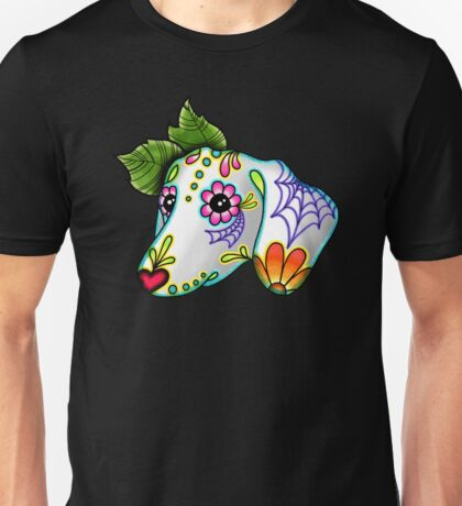 Day of the Dead Dachshund Sugar Skull Dog Unisex T-Shirt