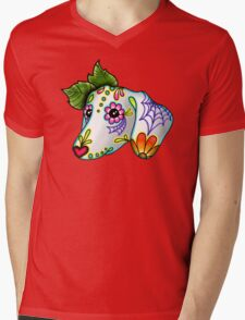 Day of the Dead Dachshund Sugar Skull Dog Mens V-Neck T-Shirt