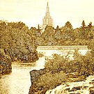 Idaho Falls Temple Sepia 20x30 by Ken Fortie