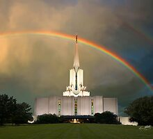 Jordan River Temple Under the Rainbow 20x24 by Ken Fortie