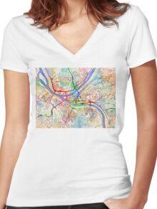 Pittsburgh Pennsylvania Street Map Women's Fitted V-Neck T-Shirt