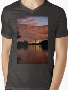 Reflecting on Fiery Skies - Toronto Skyline at Sunset Mens V-Neck T-Shirt