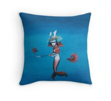 Samurai Mermaid Throw Pillow