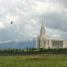 Oquirrh Mountain Temple Hawk After the Storm 20x30 by Ken Fortie