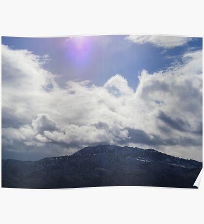 Purple Sun Above Horse Lake Mountain Poster